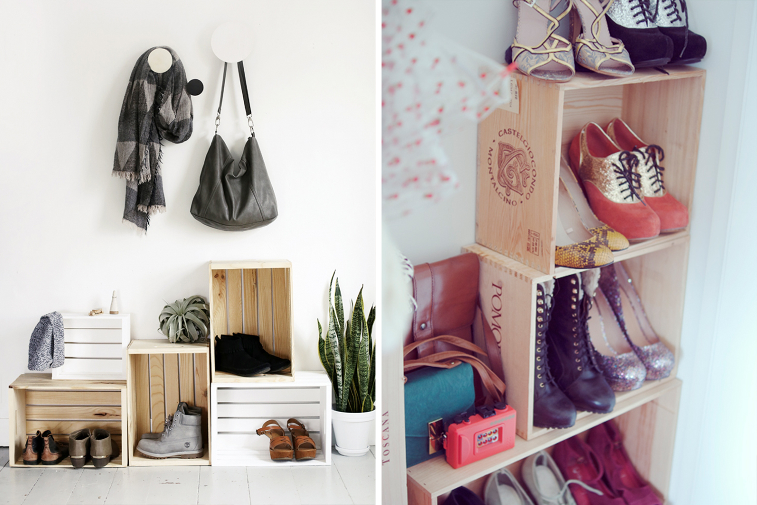 Crate shoe rack // Entryway organizing ideas // Shoe organizing and storage ideas // organized home // storage solutions // closet organizing // cheap DIY storage solutions // www.SimplySpaced.com