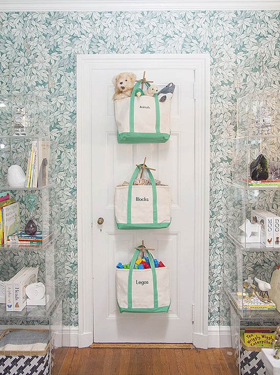 Bags Hung On the Door // Creative & Cute Nursery Storage // simplyspaced.com