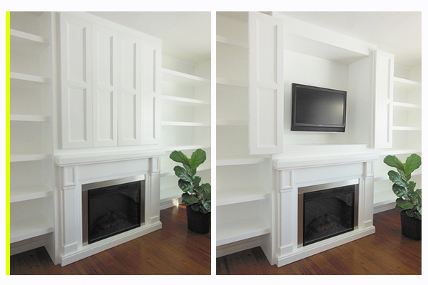 Hidden Flat Screen Television In A Built Cabinet Storage Solution