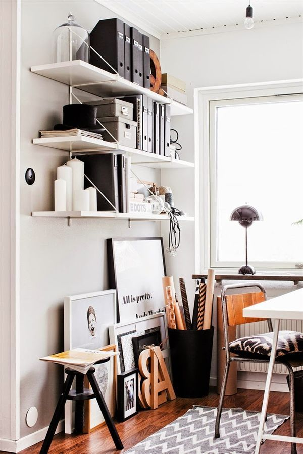 Three Wall-Mounted Shelves // 12 Creative Spaces for the Organized Artist // simplyspaced.com