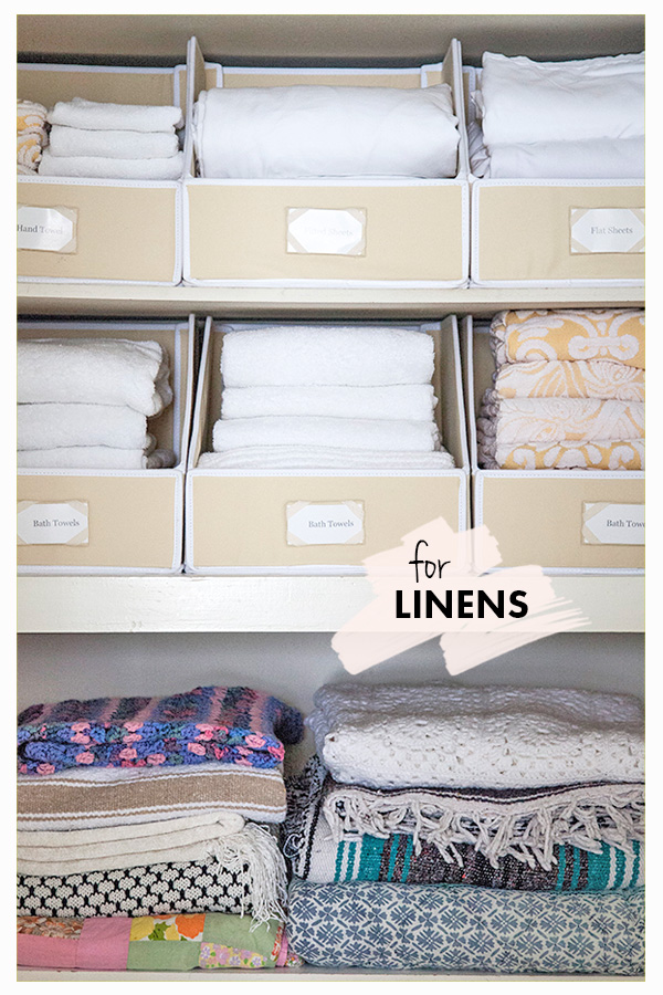 """Keep Linens Tidy, Stacked and Easy to See // """"Sweater"""" Bin Storage: 3 Ways // simplyspaced.com"""