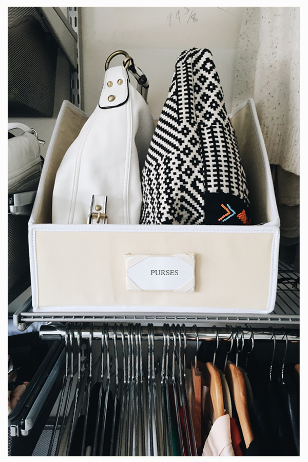 """Keep Purses Tidy and Easy to See // """"Sweater"""" Bin Storage: 3 Ways // simplyspaced.com"""