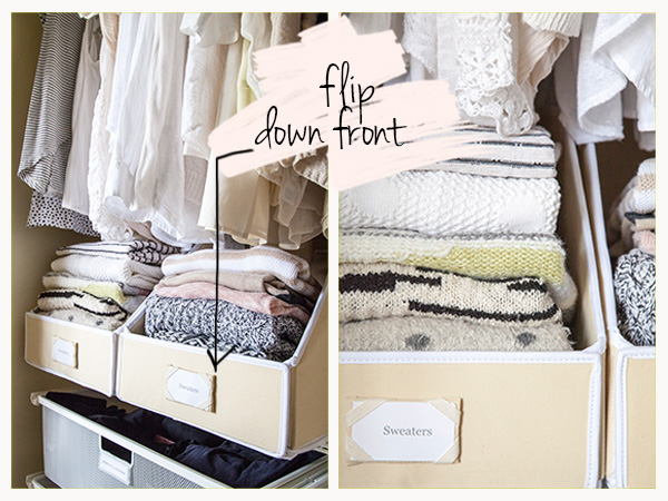 """A Flip Down Panel Makes Sweaters Easy to See // """"Sweater"""" Bin Storage: 3 Ways // simplyspaced.com"""