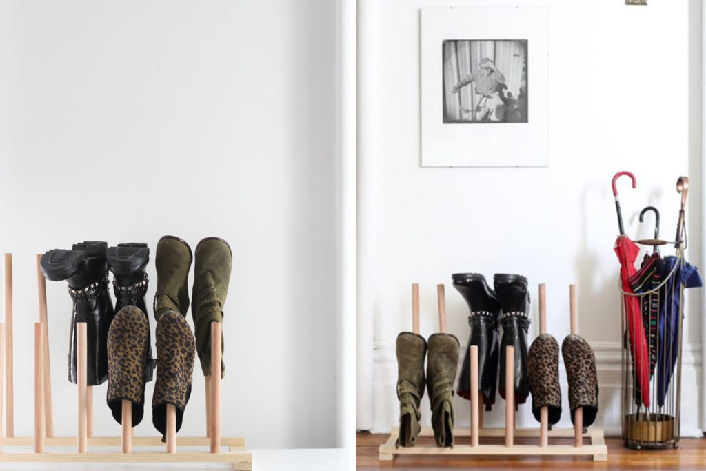 Boot storage // boot rack // Shoe organizing and storage ideas // organized home // storage solutions // closet organizing // small space // DIY shoe ladder shelf // inexpensive storage solutions // www.SimplySpaced.com