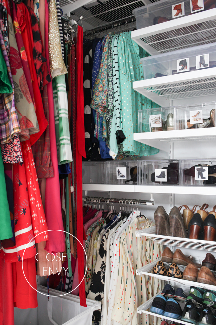 Organized closets // closet organizing // how to organize your shoes // shoe storage ideas // extra storage // DIY shoe storage // elfa closet // clear shoe bins // www.SimplySpaced.com