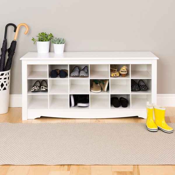 Shoe storage // cubbies // Organized closets // closet organizing // how to organize your shoes // shoe storage ideas // sleek home design ideas // shoe storage // entryway storage // shelving // www.SimplySpaced.com