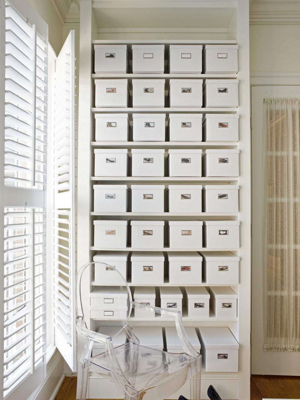 DIY shoe storage // Organized closets // closet organizing // how to organize your shoes // shoe storage ideas // sleek home design ideas // shoe storage // high end shoe boxes // www.SimplySpaced.com