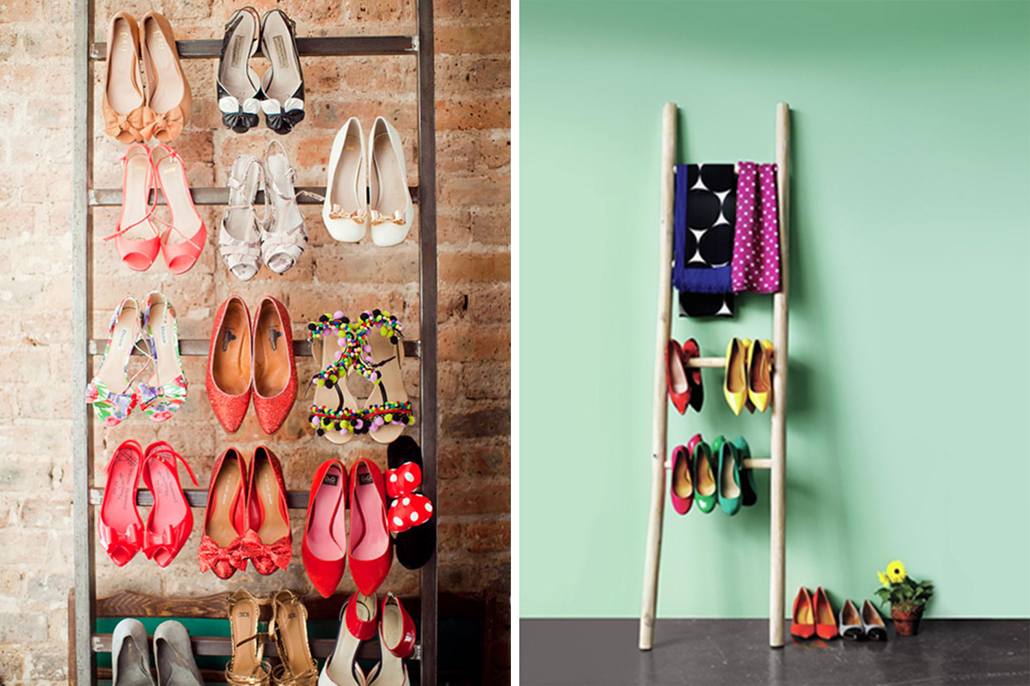 Organized closets // how to organize your shoes // shoe storage ideas // extra storage // ottoman // small space storage solutions // ladder shoe rack // www.SimplySpaced.com