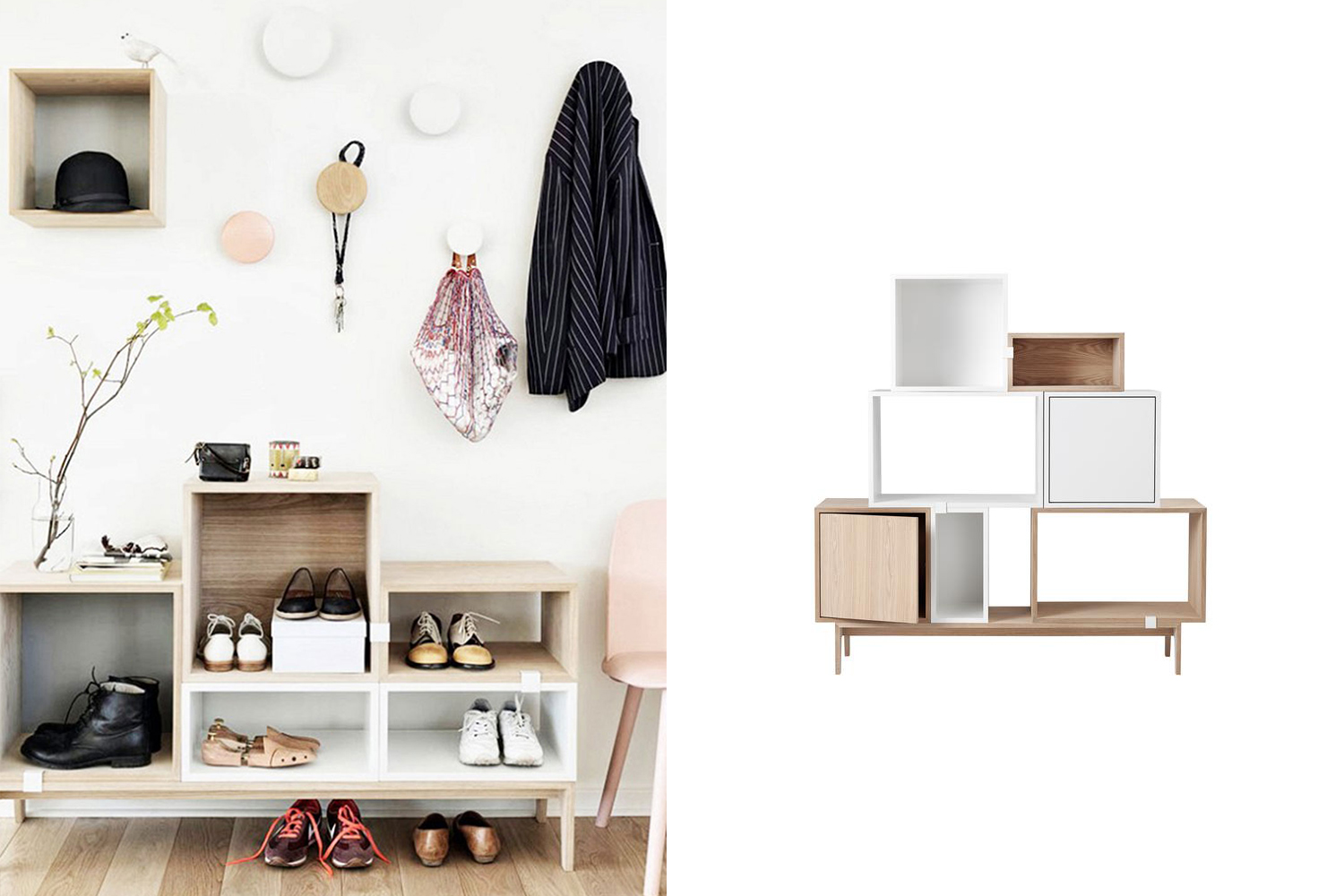 Shoe storage // cubbies // Organized closets // closet organizing // how to organize your shoes // shoe storage ideas // sleek home design ideas // shoe storage // entryway storage // www.SimplySpaced.com