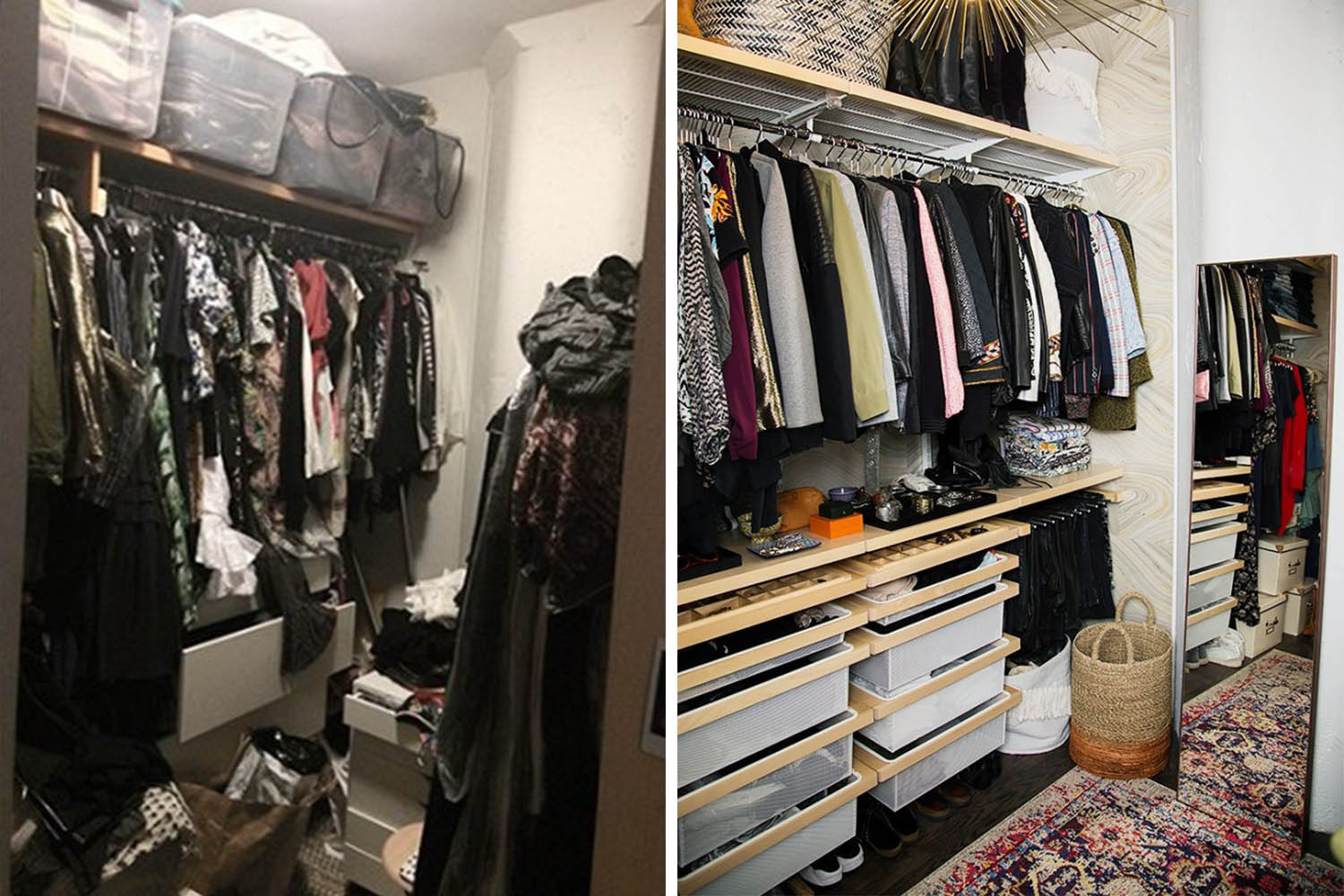 Closet organizing before and afters // wardrobe closet // transformation // closet organizing // storage solutions // Office supplies